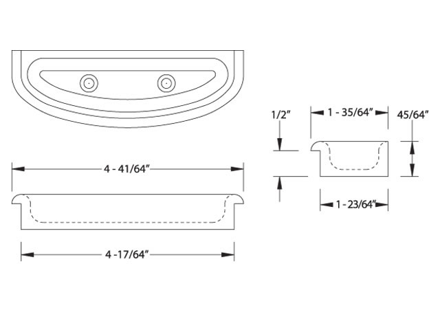 Crescent Door Pull dimensions