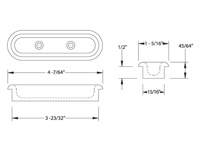 Oval Door Pull dimensions